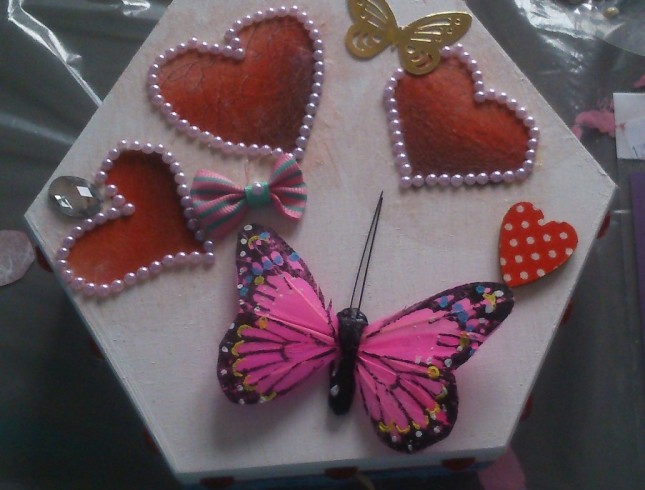 warsztaty decoupage'u Leszno Dwie Babeczki pudełko z sercem i motylkami