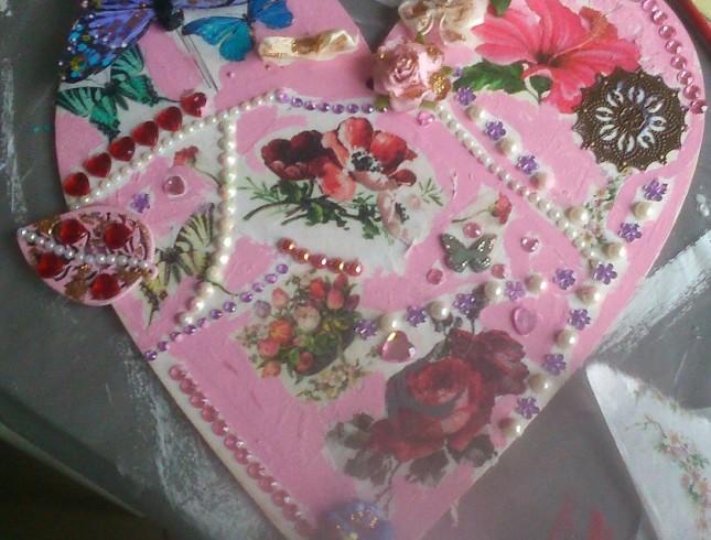 warsztaty decoupage'u Leszno Dwie Babeczki serce różowe