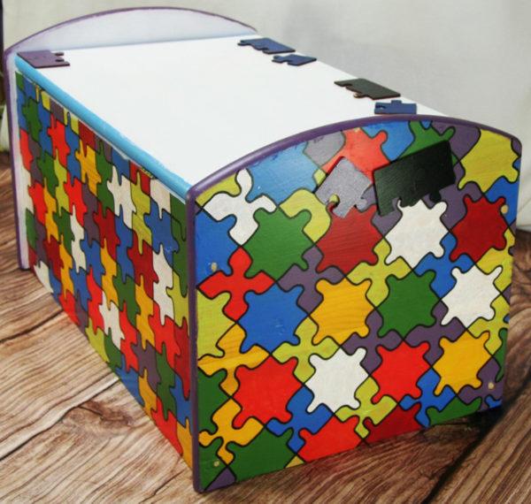 Drewniana skrzynia kufer Puzzle
